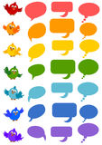 Bird and bubble speech set Stock Photo