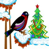 A bird is a bullfinch on the tree of wild ash and new-year tree. Illustration Stock Photos