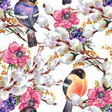 Bird bullfinch, willow  , watercolor, pattern seamless Royalty Free Stock Photo