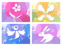 Bird-butterfly-flower-bunny Royalty Free Stock Images
