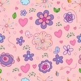 Bird butterfly flower line style seamless pattern Stock Photo