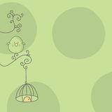 Bird and cage. Abstract illustrated green background with a bird and hanging cage design Stock Images