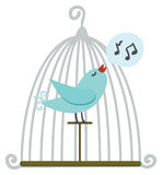 Bird in cage. Blue bird in cage. Vector illustration royalty free illustration