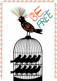 Bird and cage - be free - vector. Colourful bird out of cage full of alike birds locked inside - illustrating freedom from similarity in our society. Vector, EPS Stock Images