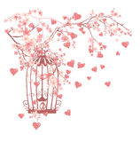 Bird cage among flowers and flying hearts design Stock Photography
