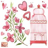 Bird cage with flowers. Watercolor pink set of elements for Valentine`s day. Scrapbook design elements. Typography. Poster, card, label, banner design set royalty free illustration
