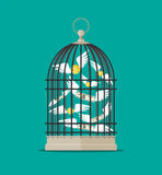 Bird cage with flying money Stock Photography