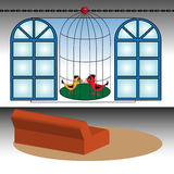Bird cage in front of a window Stock Image