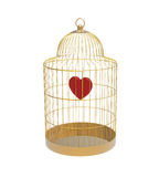Bird cage with heart Royalty Free Stock Photos