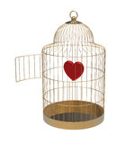 Bird cage with heart Royalty Free Stock Image