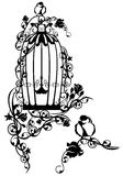 Bird cage. Open bird cage twined with rose flowers with a little bird sitting free - black and white vector design royalty free illustration
