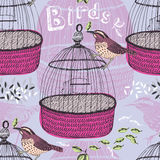 Bird and cage pattern Stock Photos
