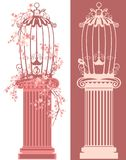 Bird cage on pedestal among blooming branches vector Royalty Free Stock Photos