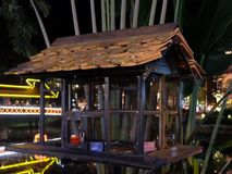 Bird cage by the river, night time.  royalty free stock images