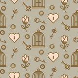 Bird cage romantic seamless vector pattern. Birdcage taupe and pink repeat background for card, invitation and paper Stock Photos