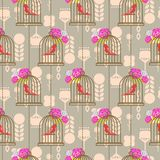 Bird cage romantic seamless vector pattern roses wallpaper. Stock Photo