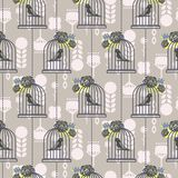Bird cage romantic seamless vector pattern wallpaper. Stock Photography