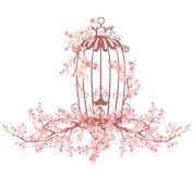 Bird cage among sakura tree branches. Opened bird cage among blooming sakura tree branches - vector design element Stock Photo