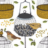 Bird and cage seamless pattern Royalty Free Stock Photography