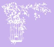 Bird cage and tree blossom vector silhouette Stock Images