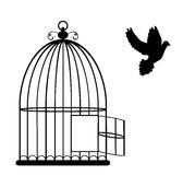 Bird Cage. Vector illustration of a vintage card with cage open and dove flying stock illustration