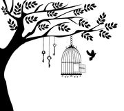 Bird Cage. Vector illustration of a vintage bird cage with doves vector illustration