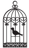 Bird cage. Vintage beautiful bird cage with bird inside royalty free illustration