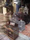 Bird cages in Bali highlands. Various colorful bird cages made of bamboo in Bali highlands Royalty Free Stock Photos