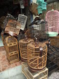 Bird cages in Bali highlands. Various colorful bird cages made of bamboo in Bali highlands Royalty Free Stock Images
