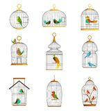 Bird cages with different birds set of vector Illustrations Stock Photography