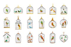 Bird cages with different birds set of vector Illustrations stock illustration
