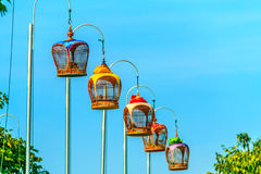 Bird cages. Malaysian's hobby with colourful bird cages. People like to hang thier bird and cage here every morning Stock Images