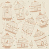 Bird and cages pattern design. Stock Photography