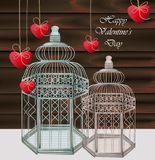 Bird cages Vector realistic. Happy valentine day card. Illustration stock illustration