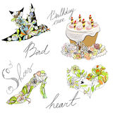 Bird, cake, heart, shoes Stock Photography