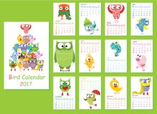 Bird calendar 2017. Calendar 2017. Cute owls and birds for every month. Vector Stock Images