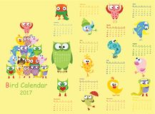 Bird calendar 2017. Cute owls and birds for every month. Vector Royalty Free Stock Images
