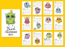 Bird calendar 2017. Cute owls and birds for every month. Vector Stock Illustration
