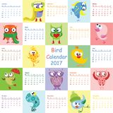 Bird calendar 2017. Cute owls and birds for every month. Vector. Isolated Vector Illustration