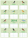 2014 bird calendar. 2014 calendar with different european common birds royalty free illustration