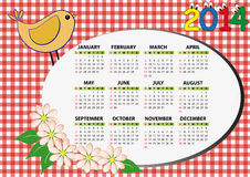 2014 bird calendar. 2014 bird and flower calendar for children Vector Illustration