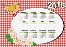 2016 bird calendar. 2016 bird and flower calendar for children Royalty Free Illustration