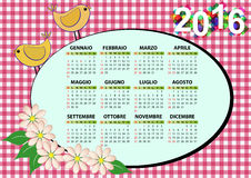 2016 bird calendar. 2016 bird and flower calendar for children in italian Vector Illustration