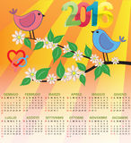 2016 bird calendar. Illustration of 2016 bird calendar for children in italian Vector Illustration