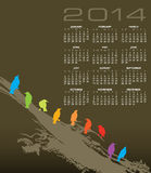 2014 bird calendar. Illustration of 2014 calendar with colorful birds perched on branch Stock Photo
