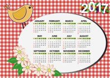 2017 bird calendar. Illustration of 2017 bird and flower calendar for children Vector Illustration