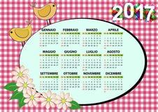 2017 bird calendar. Illustration of 2017 bird and flower calendar for children in italian Royalty Free Illustration
