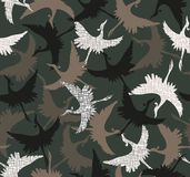 Bird camouflage pattern on military green royalty free illustration