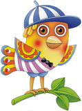 Bird with cap. Illustration of little bird, airbrushed in photoshop Stock Photo