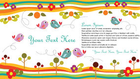 Bird Card. Cute bird set for card or background. Files in EPS 10 stock illustration